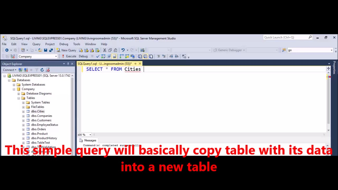 MSSQL - How to create a table from select query results in SQL Server