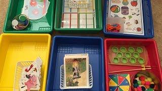 Preschool Montessori Learning Trays: Shelf Work 8/7/16
