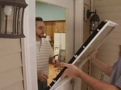 Door glass window replacement youtube for Replace window with door