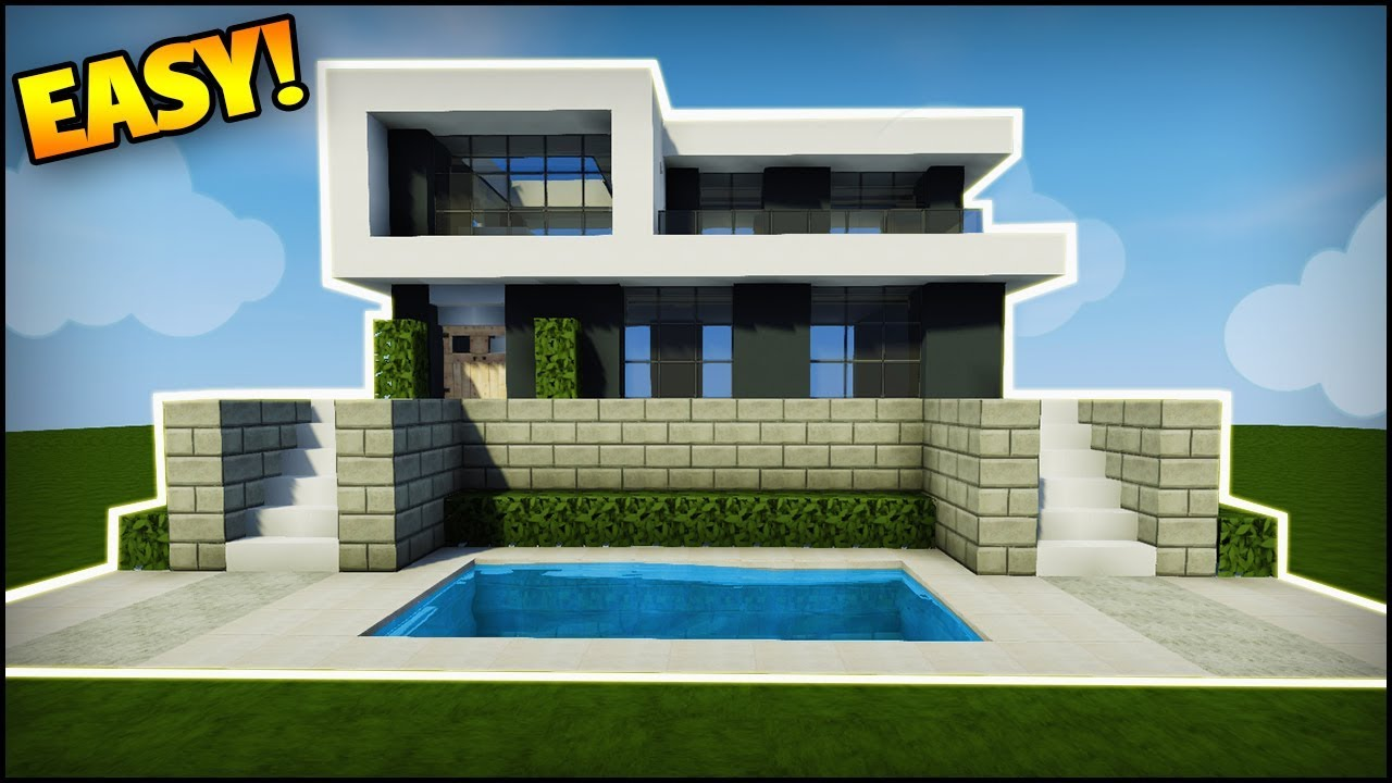 Minecraft how to build a modern house easy tutorial how to build a simple house in minecraft - Simple modern house minecraft ...