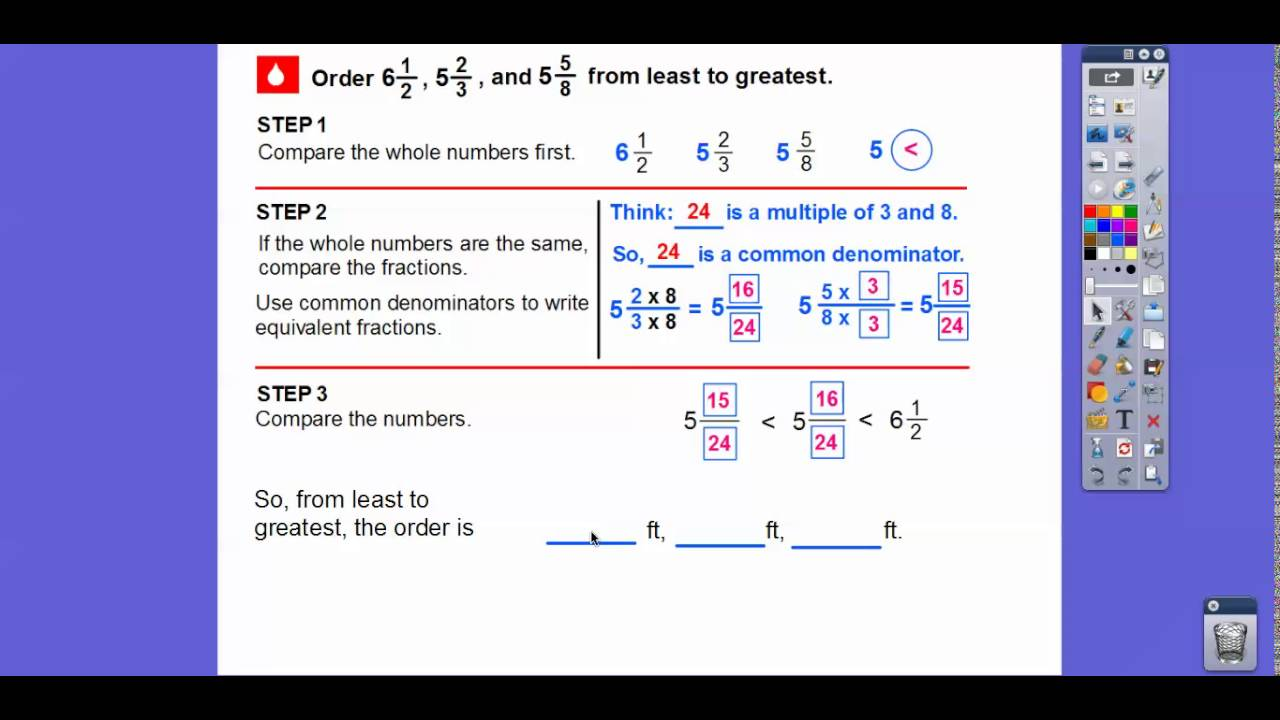 compare and order fractions and decimals  lesson   youtube compare and order fractions and decimals  lesson