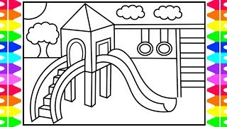 How to Draw a Playground for Kids ❤️💙💜💚 Playground Drawing   Playground Coloring Pages for Kids