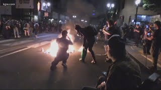 Police declare riot outside Mayor Ted Wheeler's apartment building