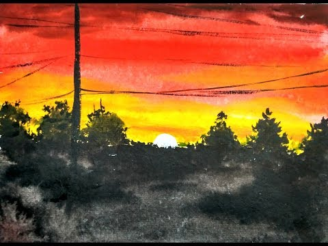 Easy Watercolor Sunset Painting Demonstration | Paint with david
