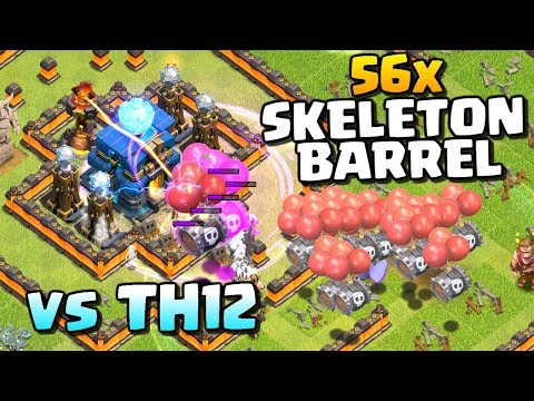 56x Skeleton Barrel vs TH12 - Can We 3 Star? Halloween Update New Troop | Clash of Clans