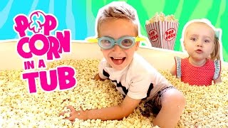 Kids do the Popcorn Bath Tub Challenge! Food Challenge & Family Fun!