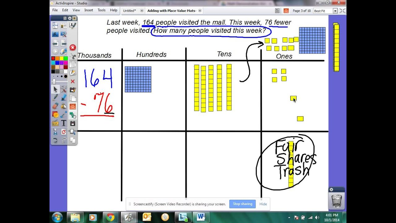 worksheet Place Value Blocks 3rd grade subtracting with base ten blocks youtube blocks