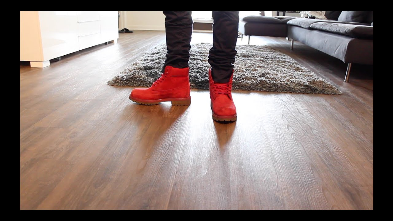 Red Timberland Boots 6 Inch On Feet Review Youtube