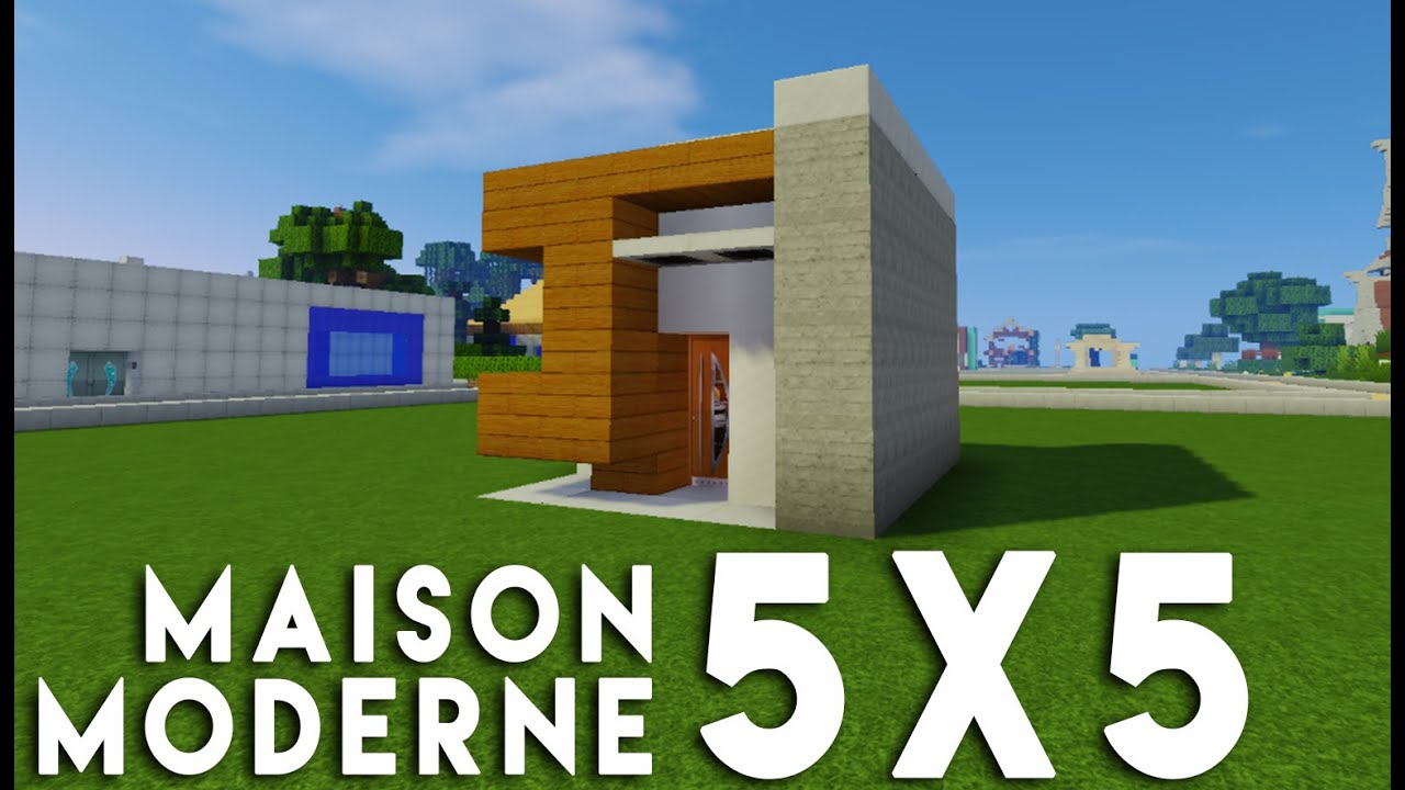 Minecraft tuto construction maison moderne en 5x5 youtube for Minecraft maison moderne plan