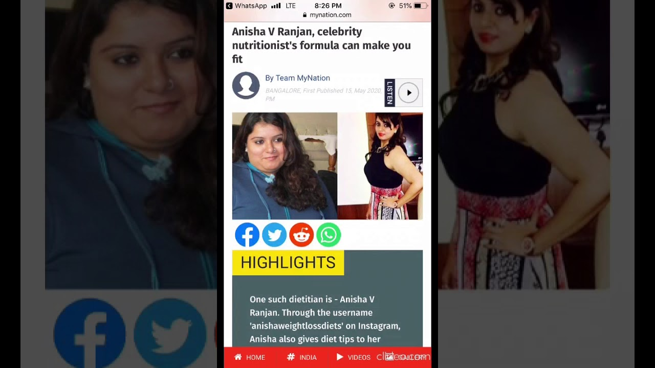 Celebrity Dietitian Anisha I Weightloss Expert I Healthy Lifestyle Youtube
