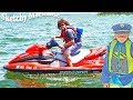 Sketchy Mechanic takes a boat Officer Ryan catches him funny silly YouTube kids video