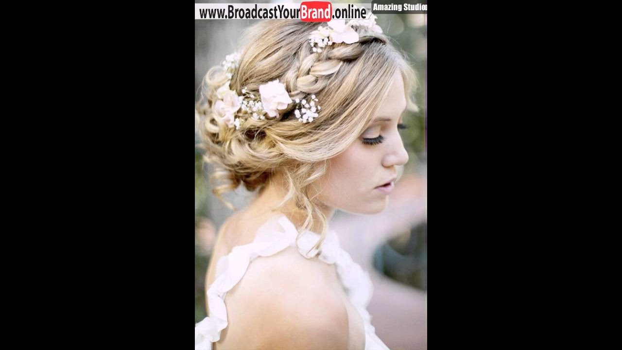 Loose braided updo with fresh flowers youtube loose braided updo with fresh flowers urmus Choice Image