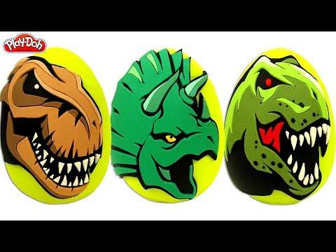 Dinosaur Surprise Eggs Play Doh T Rex, Triceratops, Velociraptor Dinosaur Toys Surprises
