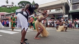 Fijian Police Dance in the Streets