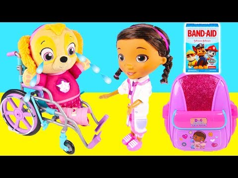 Paw Patrol Skye BOO BOO Wheelchair - Doc McStuffins First Responders Backpack Playset