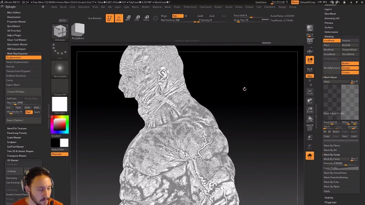 PavWork 21: Cavity and AO Maps in ZBrush