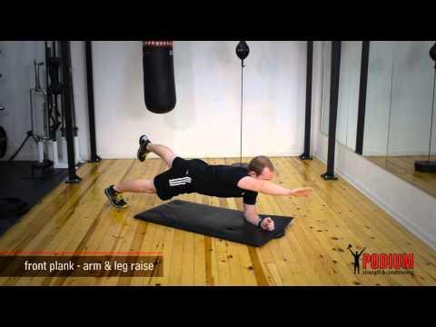 6. Plank Arm Leg Raises