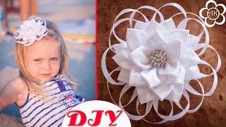 Белый цветок Канзаши к 1 сентября / Банты в Школу / Back to School