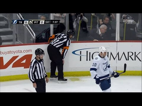 NHL Referee Throws Up On The Ice - PIT vs. TBL