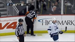 nhl referee throws up on the ice pit vs tbl