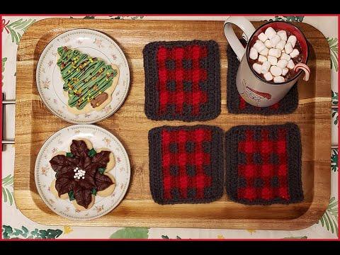 How to Crochet Tutorial: DIY Buffalo Plaid Coasters by YARNutopia thumbnail