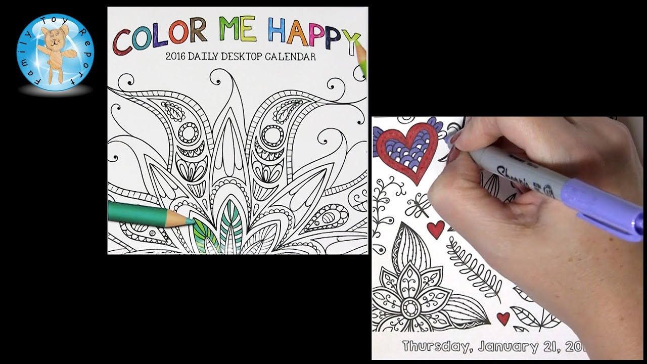 Color Me Happy 2016 Daily Desktop Calendar January 21 Adult Coloring ...