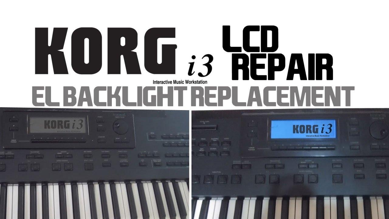 korg lcd repair fading display fix EL backlight, dead lines pixel