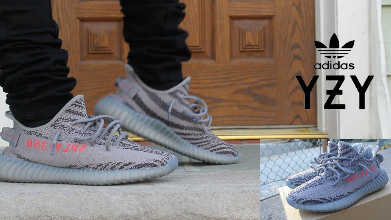 0a68b7bbacfa2c YEEZY 350 V2 BELUGA 2.0 W ON FOOT - YouTube