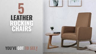 Top 10 Leather Rocking Chairs [2018]: Fabric Morden Rocking Upholstered Relax Chair (Espresso Fabric