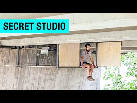 Hidden Studio Suspended Under a Bridge by Fernando Abellanas