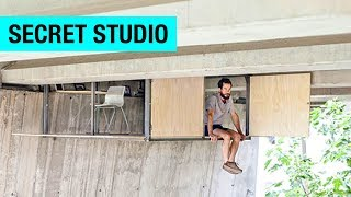 Hidden Studio Suspended Under a Bridge by Fernando Abellanas