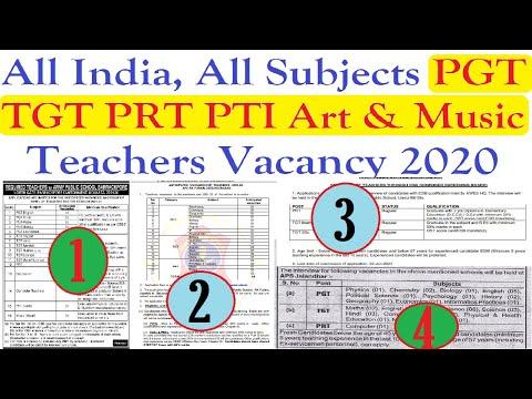 All India, All Subjects PGT TGT PRT PTI & Music Teachers Vacancy 2020, Teachers Recruitment 2020, शि