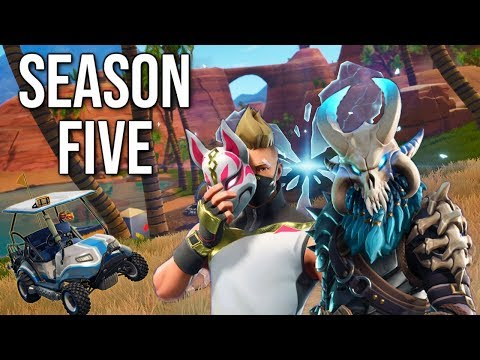 Fortnite Season 5! New Skins, Kart, Rift, Battlepass, & New Map!