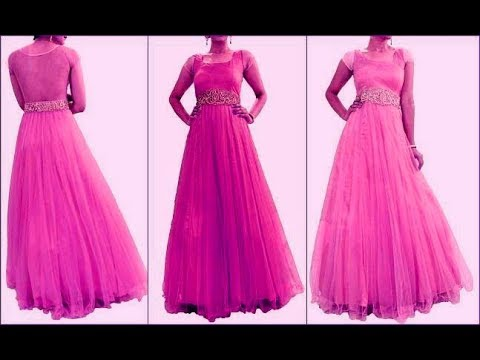 Net fabric floor length long gown cutting and stitching - YouTube 3fd3d1eaf
