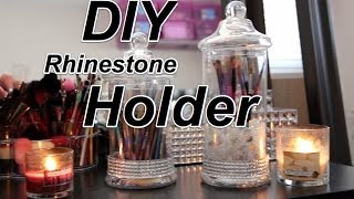 Diy Rhinestone Brush Holder Jar |fast And Easy