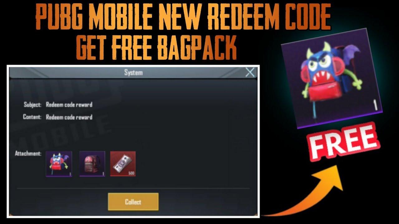 Pubg Mobile New Redeem Code Trick Get Free Backpack skin ...