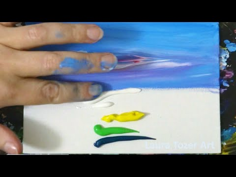 How to Paint an Abstract Landscape Painting With Only Your Fingers!