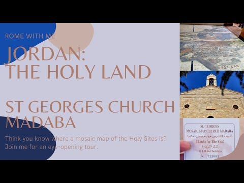 Madaba Jordan. Jules visits the Greek Orthodox church of St George to see the mosaic map.