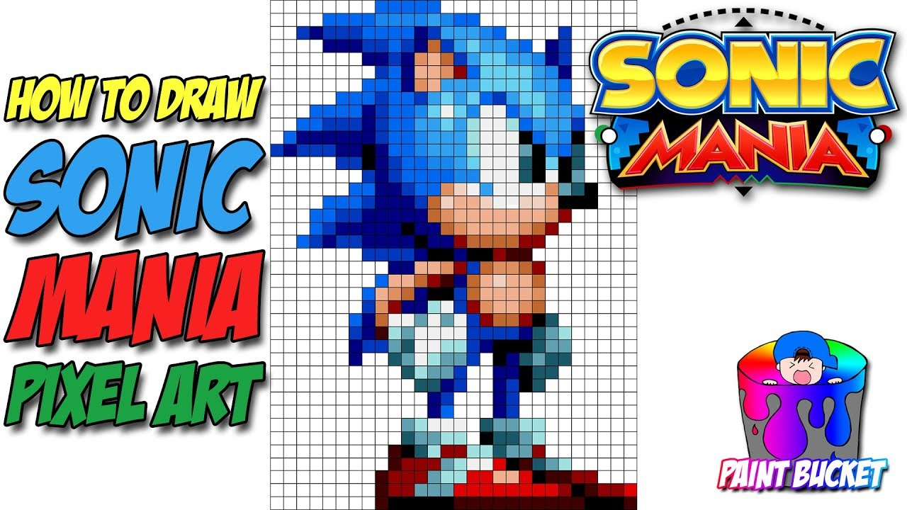 How To Draw Sonic The Hedgehog Sonic Mania Pixel Art Drawing Tutorial Youtube