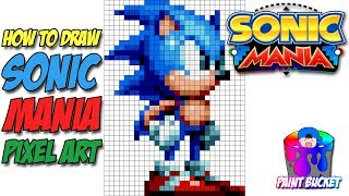 How to Draw Sonic the Hedgehog - Sonic Mania Pixel Art Drawing Tutorial