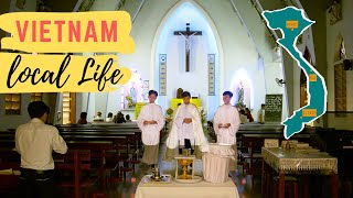 Vietnam: Catholic Mass, single shot of local life
