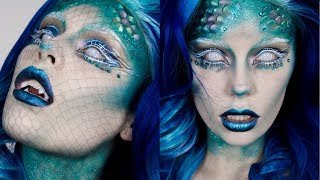 mermaid halloween makeup easy fish scale prosthetics fangs tutorial