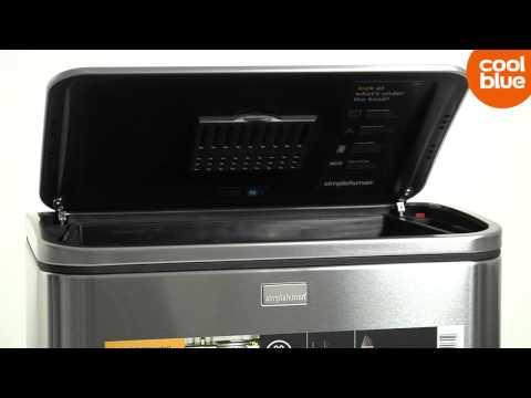 Simplehuman Afvalemmer Rectangular 38 Liter Mat Rvs.Simplehuman Ractangular Steelbar Prullenbak Videoreview En