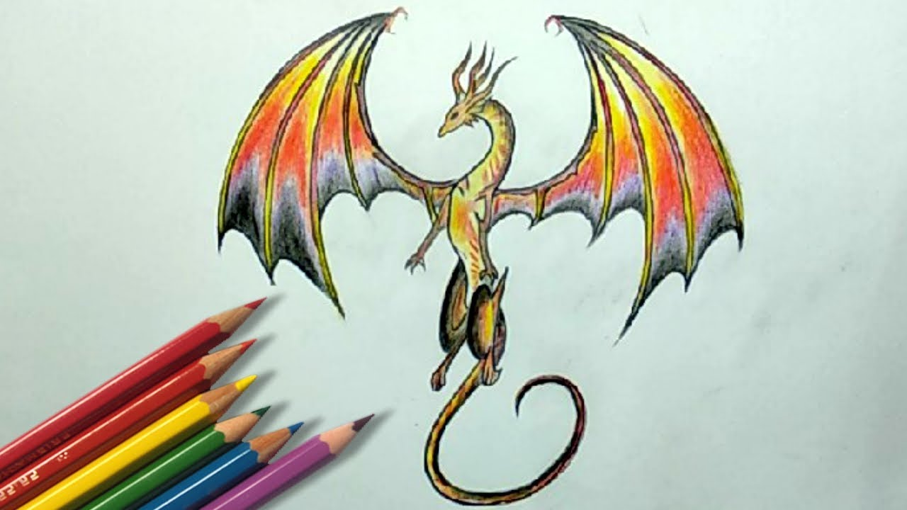 Color pencil drawing how to draw a dragon step by step