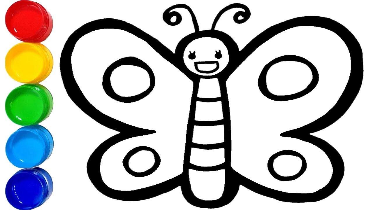 Belajar Cara Menggambar Dan Mewarnai Glitter Butterfly Kupu Kupu Untuk Anak Learn Colors Youtube