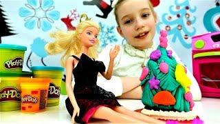 🎄Новогодний пирог Плей До для #БАРБИ Видео для девочек.