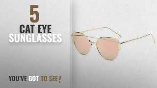 Top 10 Cat Eye Sunglasses [2018]: U.S. CROWN Women Cat-Eye Mirror Sunglasses with case
