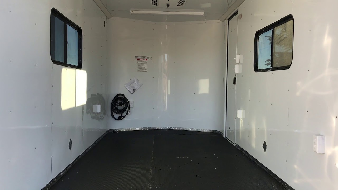 Flatbed For Sale >> New 7x16 Insulated Cargo Trailer with windows, power, A/C, and nudo floor - YouTube