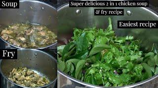 Chicken in coriander soup!Super delicious 2 in 1 chicken fry & soup recipe!Easiest recipe