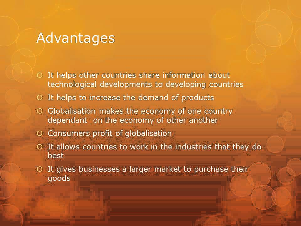 globalization essay advantages disadvantages The first part of this essay will be aimed towards understanding the concept of globalisation we will analyse the various advantages and disadvantages tha.